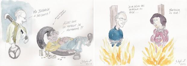 Deux caricatures de Donatien Ryelandt (2013) après la lecture des Profs au feu et l'école au milieu