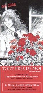Affiche de l'adaptation théâtrale de Tout près de moi (Avignon)
